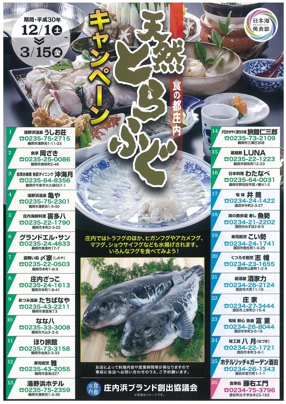 食の都庄内「天然とらふぐ」キャンペーンが開催中!【12月1日(土)~3月15日(金)】