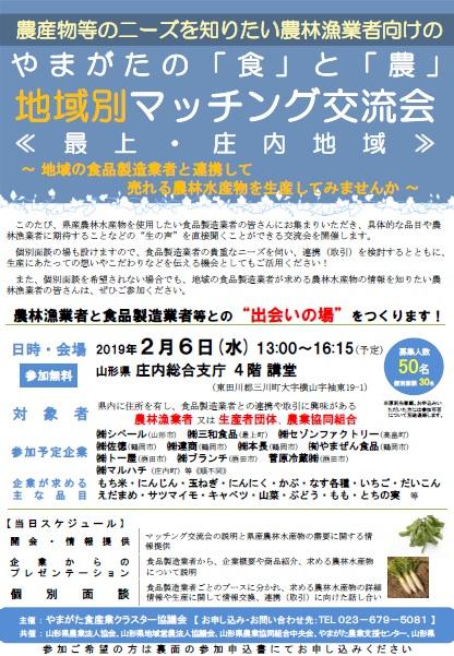 「やまがたの「食」と「農」地域別マッチング交流会」~が開催されます!【2月6日(水)】